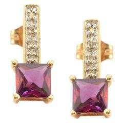Solid 14 Karat Yellow Gold Genuine Garnet and Natural Diamond Earrings 1.9g