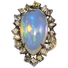 Pear Shape Opal and Fancy Colored Diamonds in 18 Karat Yellow Gold in Stock Sale