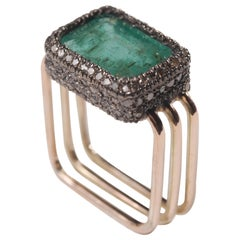 Ia Jewels 14 Carat Gold and Silver Emerald Diamond Cocktail Ring