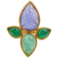 Scrives Tanzanite Emeralds Cabochon Lotus Flower 22 Karat Gold Cocktail Ring