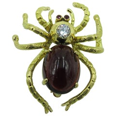 Garnet and Diamond Spider Brooch