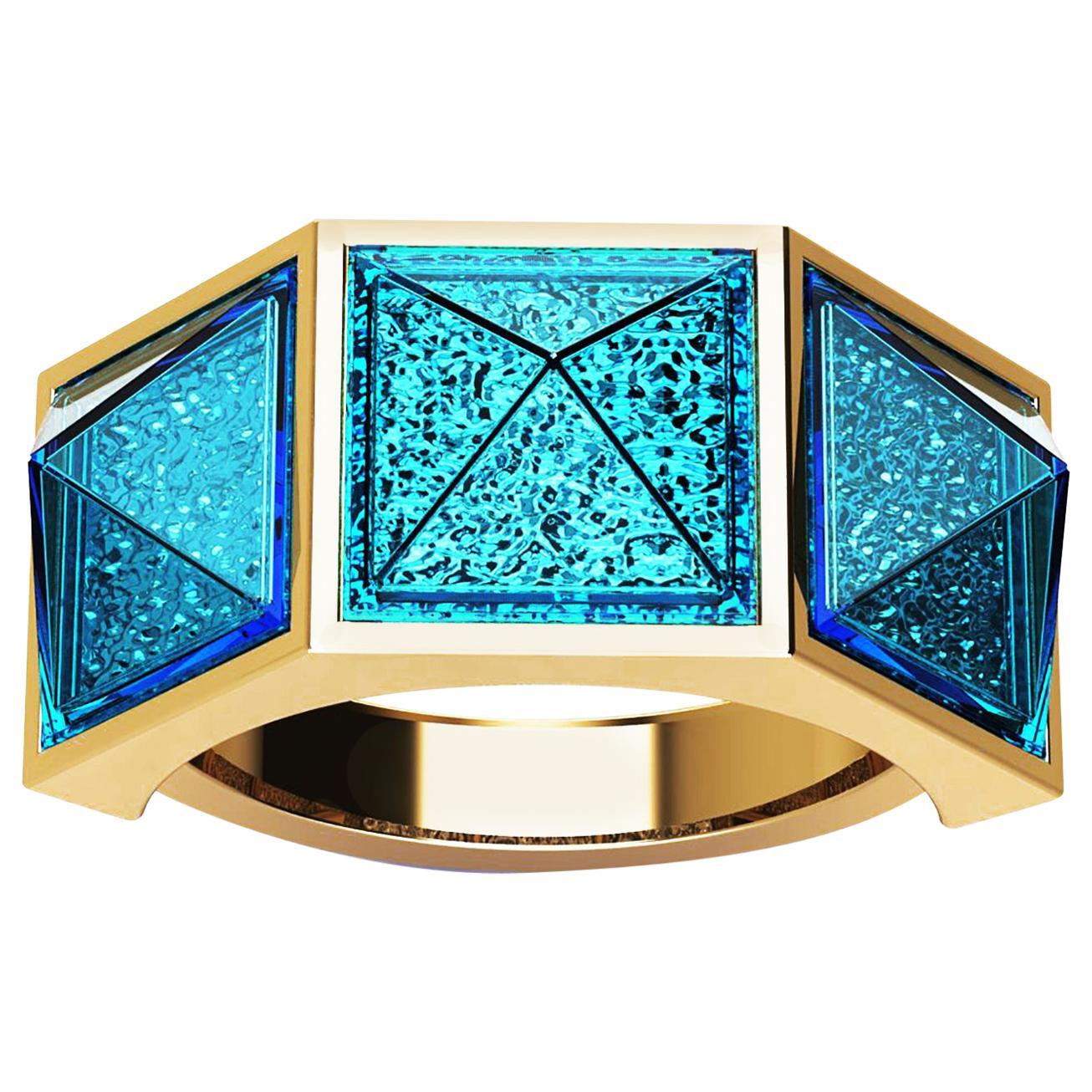 Swiss Blue Topaz Pyramids Ocean Deep Water 18K Yellow Gold Ring