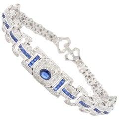Art Deco Style Sapphire Diamond Bracelet