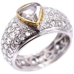 Sethi Couture 3.13 Carat Rose Cut Diamond Statement Ring in 18 Karat White Gold