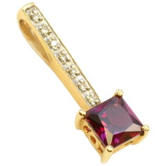14 Karat Yellow Gold Garnet and Diamond Pendant