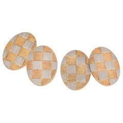 Platinum and 14 Karat Gold Cufflinks