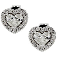 Round Brilliant and Pear shape Diamond Stud Heart Earrings