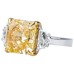 6.84 Carat Natural Fancy Intense Internally Flawless Diamond in Platinum Ring
