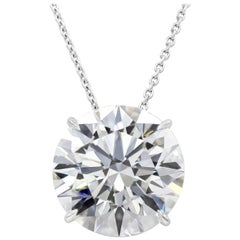 HRD Certified 10.43 Carat Round Diamond Solitaire Pendant Necklace
