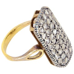 Antique Rectangular Diamond Silver Gold Ring