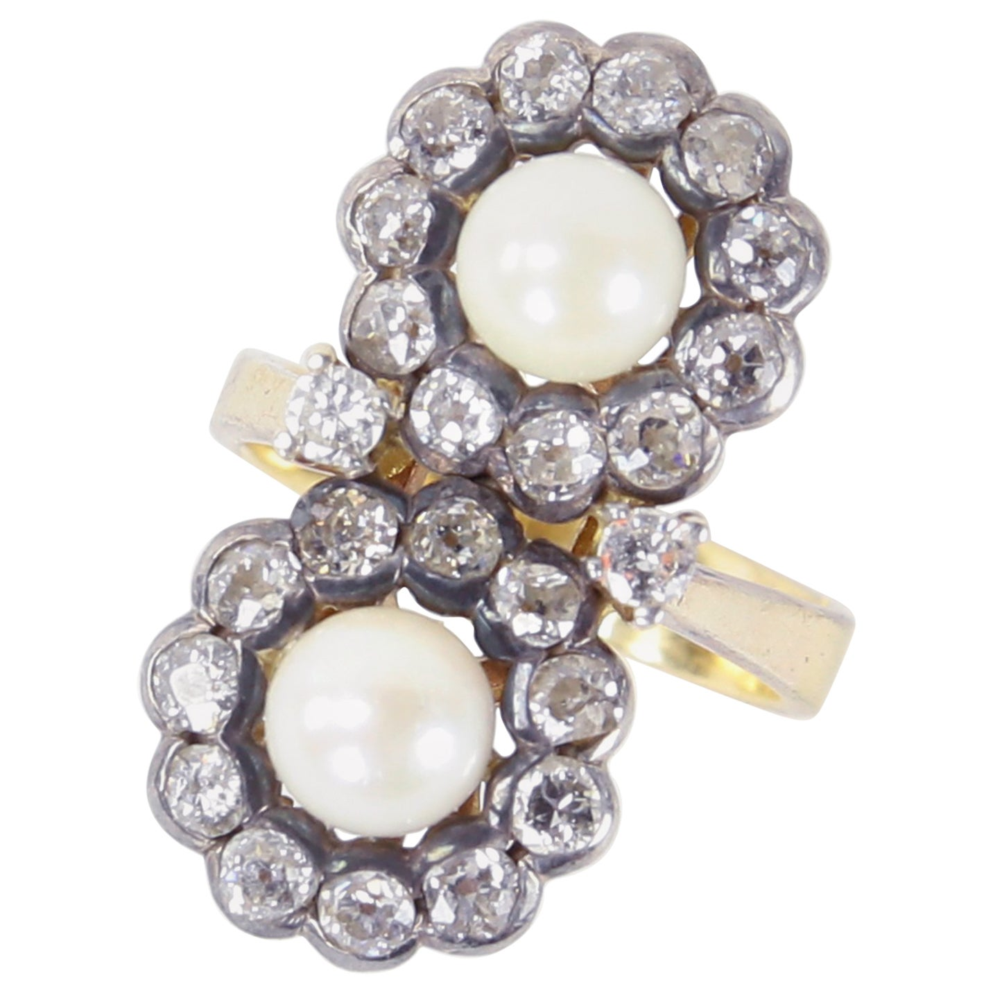 Edwardian Pearl and Diamond Silver Gold Ring Estate Fine Jewelry