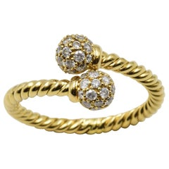 David Yurman 18 Karat Yellow Diamond Cable Crossover Ring