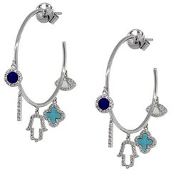 Diamond Multi Charm Hoop Earrings