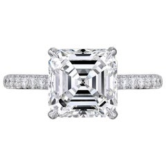 GIA Certified 3.02 Carat Asscher Cut Square Emerald Engagement Platinum Ring