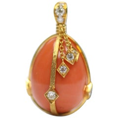 Victorian Style Coral Egg 18 Karat Yellow Gold and Diamond Pendant