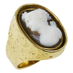 1970s Ed Wiener Cameo and Gold Ring