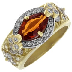 Stambolian Yellow Gold Diamond and Spessartite Garnet Ring
