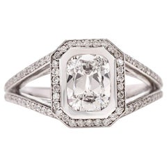 Dover Jewelry D-VS1 GIA Diamond Pave Split Platinum Engagement Ring