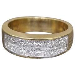 Invisible Princess Cut Diamonds Set in 18 Karat Yellow Gold