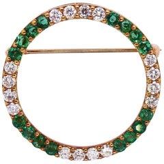 Herbert Rosenthal Midcentury 1950s 2.00 Carat Diamond Emerald Pin Brooch