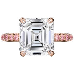 GIA Certified 4.54 Carat Asscher Cut Engagement Ring with Pink Diamonds