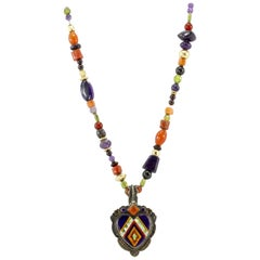 Benny & Valene Aldrich Ju-Ju Beads Sterling Silver & Gold Inlaid Heart Necklace