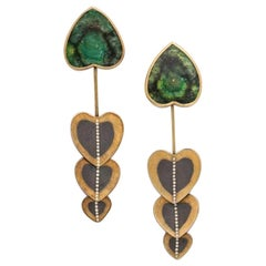 Rare Zobel Modernist Gold, Tourmaline and Diamond Pendant Earrings
