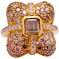 4.56 Carat Graduating Fancy Colored Diamond Cocktail Ring