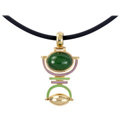 2016 Giorgio Facchini Jade, Enamel, and Gold Pendant
