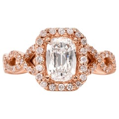 Diamond GIA D-VS1Twisted 18K Gold Halo Cushion Engagement Ring
