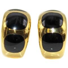 Onyx 18 Karat Yellow Gold Huggie Hoop Earrings