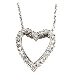 14 Karat White Gold and Diamond Heart Necklace