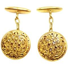 Art Nouveau 18 Karat Gold Cufflinks
