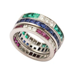 Vintage Eternity Bands with Emeralds Rubies Diamonds Tiffany & Co. Sapphire