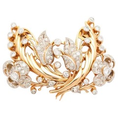 Floral Motif Diamond and Gold Double Clip / Brooch 18 Karat