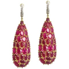 23.5 Carats Ruby Dangling Earrings