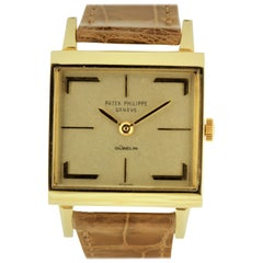 Patek Philippe 3406J Vintage Square Watch with Hermes Style Dial, circa 1964