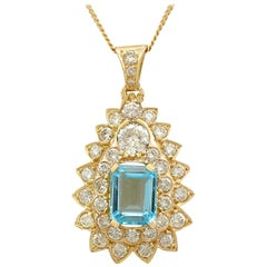 1990s French 3.95 carat Topaz and 3.08 carat Diamond Yellow Gold Pendant