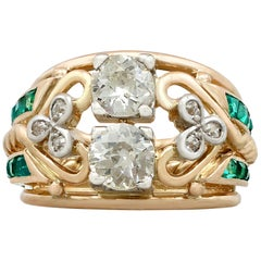 1940s Emerald and 1.26 carat Diamond Yellow Gold Cocktail Ring