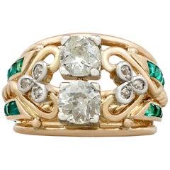 1940er Jahre, Smaragd und 1,26 Karat Diamant Gelbgold Cocktail-Ring