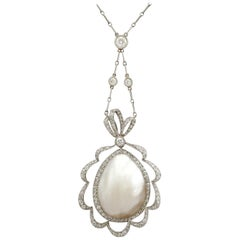 Antique 1910s Blister Pearl and 2.65 carat Diamond Platinum Necklace