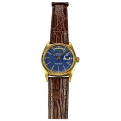 Rolex 18 Karat Yellow Gold Blue Dial Day Date President Automatic Watch, 1970s