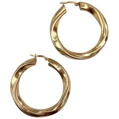 Vintage Gold Jewelry 9 Karat Hoop Earrings Wavy Large Twisted Hoops Yellow Gold