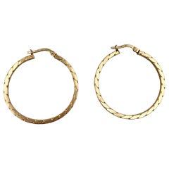 1970s Vintage Gold Hoop Earrings Rope Braided 9 Karat Yellow Gold Hoops