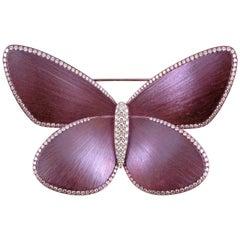 """Eclat"" Diamond Titanium Butterfly Brooch"