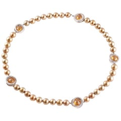 "Margot McKinney ""Chocolate"" Pearl 12.25 Carat Diamond Citrine Necklace"