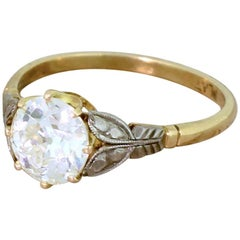Art Deco 1.57 Carat Old European Cut Diamond Engagement Ring