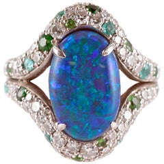 David Morris 4.82 Carat Opal 2.78 Carat Diamond Tsavorite Tourmaline Ring
