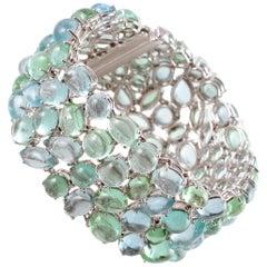 Robert Erich 52.35 Carat Aquamarine 65.13 Carat Tourmlaine Diamond Bracelet