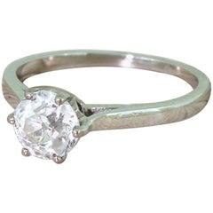 Art Deco 1.01 Carat Old Cut Diamond Platinum Engagement Ring